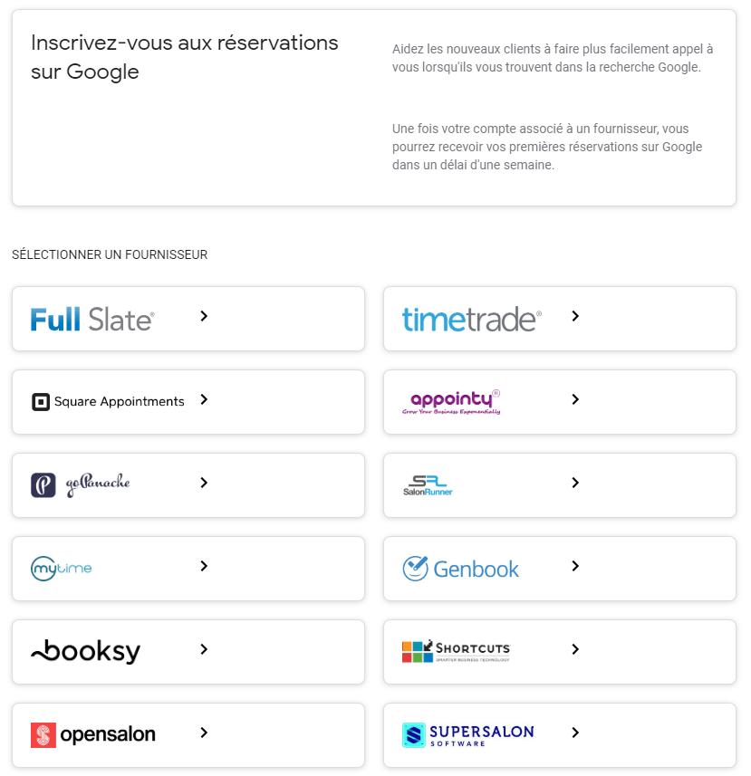 Fournisseurs réservations en ligne sur Google