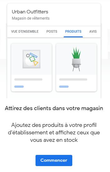 Menu produits Google My Business