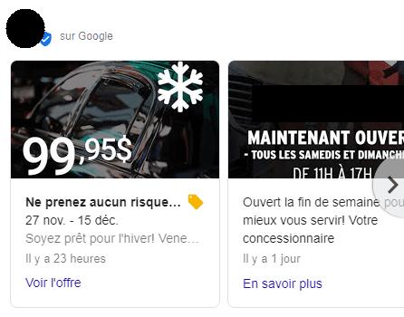 Affichage des publications sur Google
