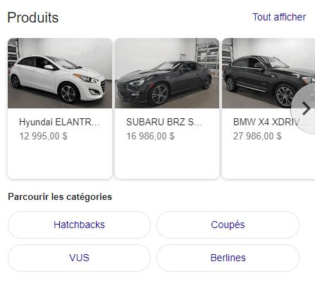 Produits GMB sur Google