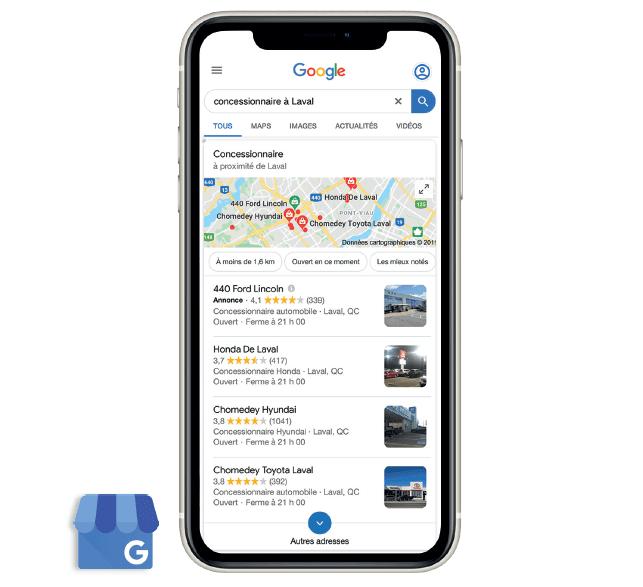 Google My Business sur écran mobile