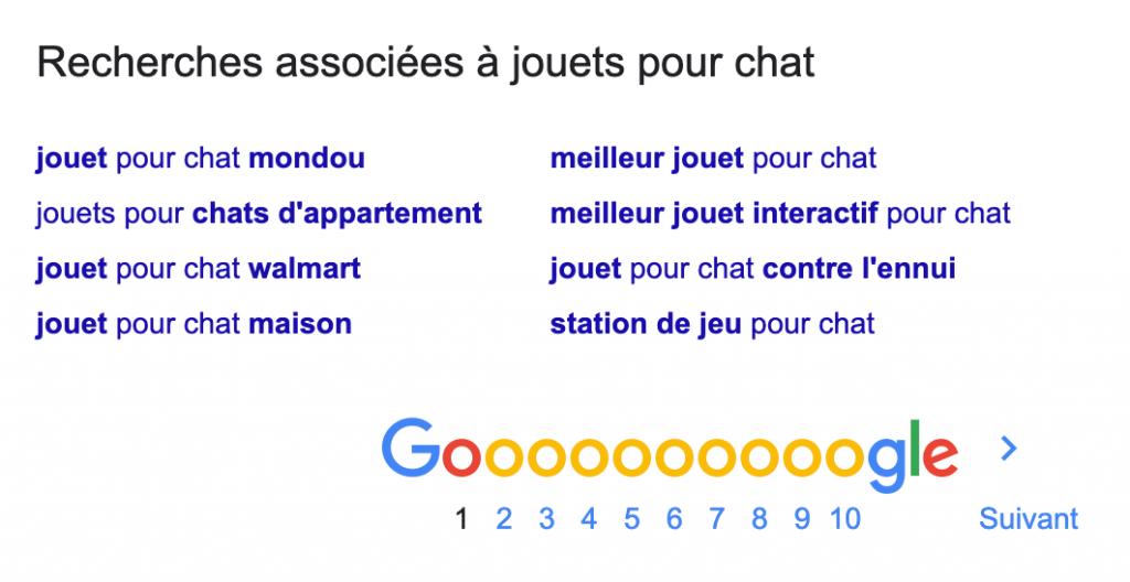Recherche associées à jouets pour chat dans Google