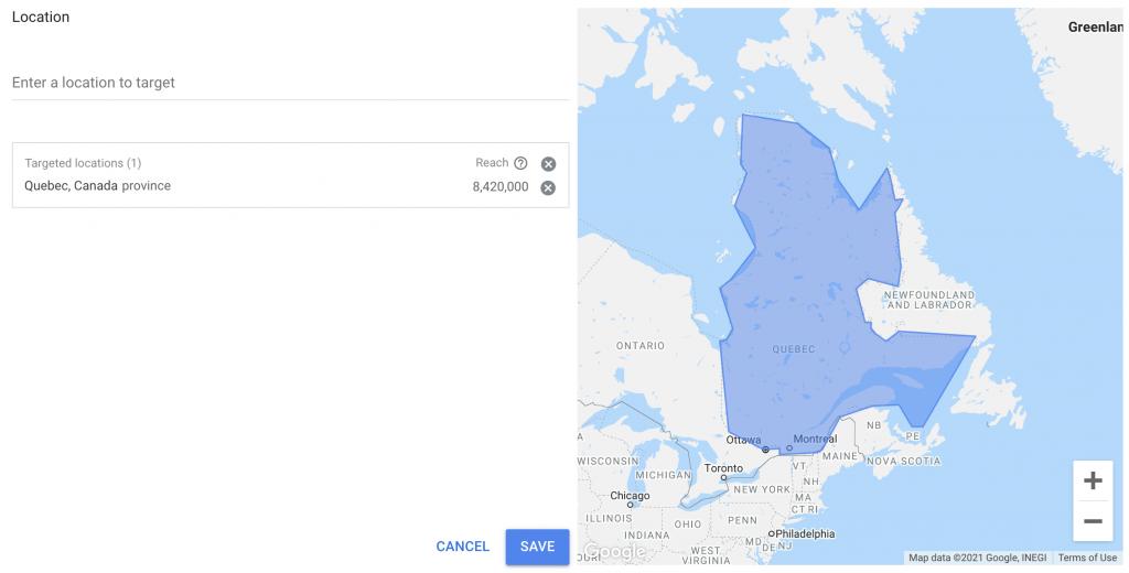Carte de localisation du Google Keyword Planner