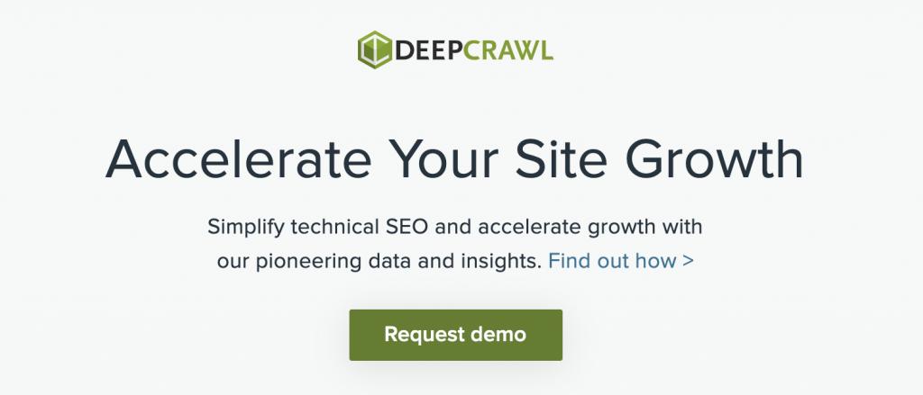 Page d'accueil de DeepCrawl